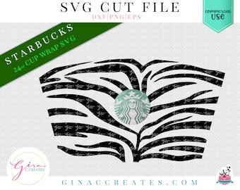 Zebra Tiger Skin Wrap SVG, starbucks cup stripes wrap svg