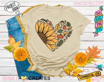 Sunflower Heart SVG, Fall svg, pumpkin svg