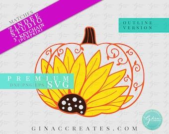 Fall Pumpkin Sunflower Key chain SVG. sunflower svg, key chain svg, zindee svg