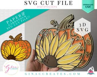 3D Sunflower Pumpkin Mandala SVG Cut File, 3D mandala svg, pumpkin SVG