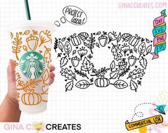 Autumn Fall Starbucks Cup Wrap SVG, Pumpkin Starbucks svg cut file