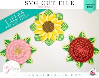 3D Flower Mandala SVG Bundle, 3D mandala svg, rose SVG, sunflower svg