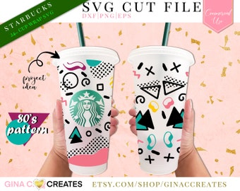 Totally 80's Pattern Starbucks Cup Wrap SVG, starbucks cup wrap svg cut file