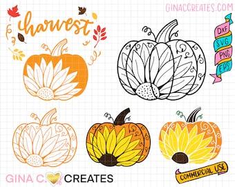 Fall Pumpkin Sunflower Mandala SVG. pumpkin mandala svg, sunflower svg, harvest svg, fall leaves svg
