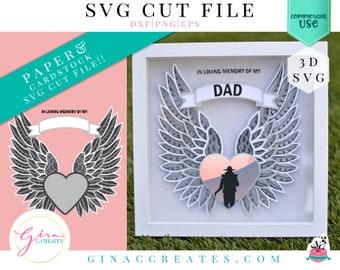 3D Angel Wings Memorial Mandala SVG Cut File, 3D mandala svg, Memorial SVG