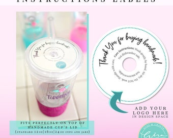 Cup Care Instruction Label, Care Card, Thank you for buying handmade cup label   PNG Printable