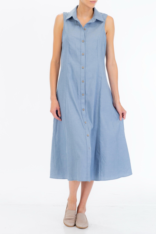 Womens Shirt Dress Sleeveless Dress Fit And Flared Dress Etsy
