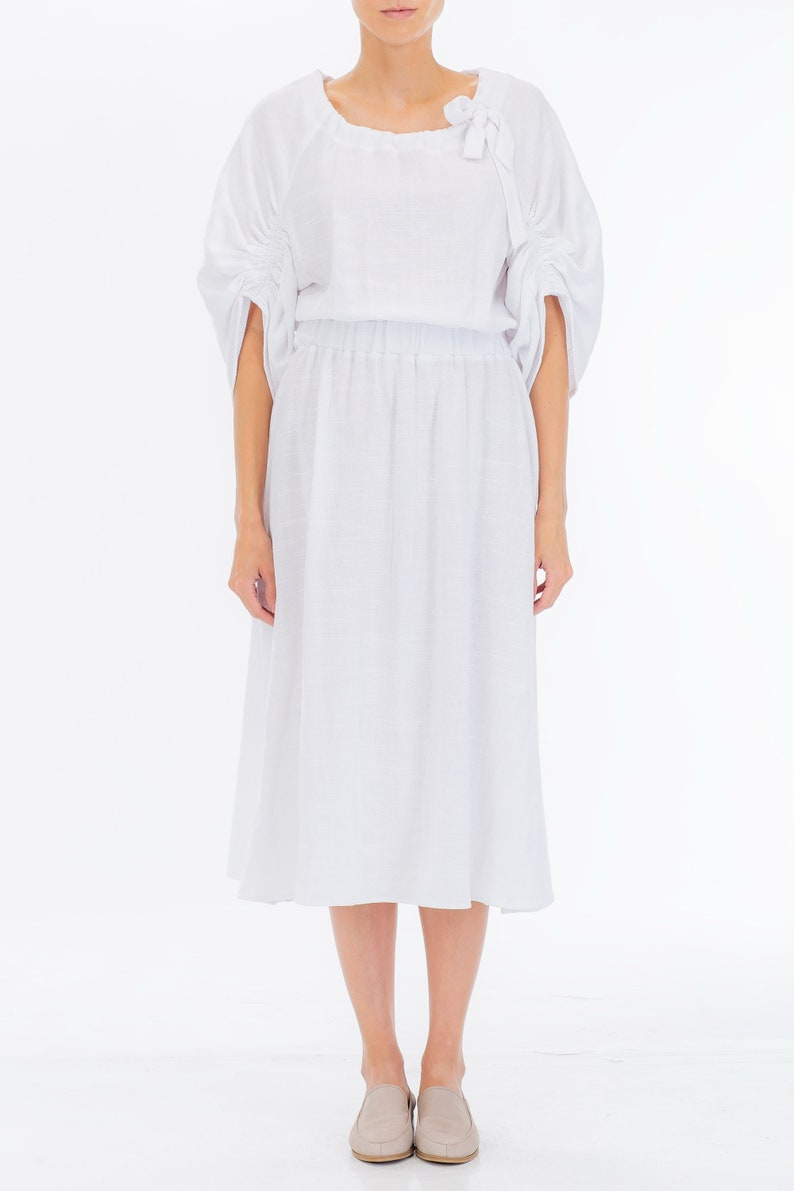 f7ee17493a Women s Linen Gauze Dress Ruched and Gathered Sleeve