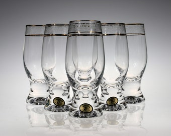 Bohemia Chrystalex Glasses With Gold Rings Customers First Other Bohemian/czech Art Glass Bohemian/czech