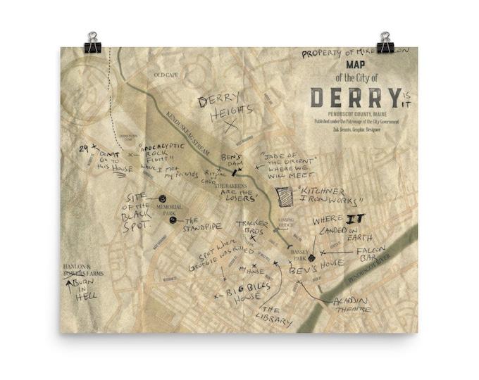 16 x 20 Derry Map print
