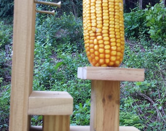 Table and chair squirrel corn cob feeder