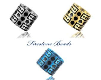 Beads Perlen Bart Perle Edelstahl Metall Großloch 6mm CNC Firestone Bead Nr.02