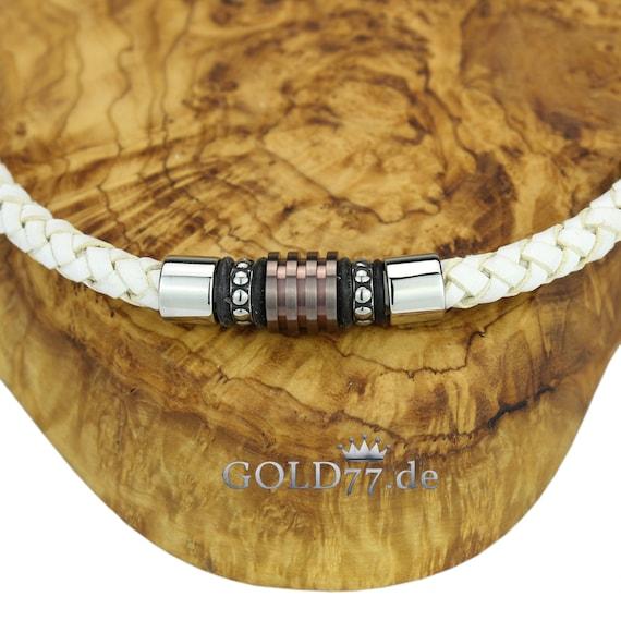 Leder-Halsband//Kette mit 5 Beads und Verschluss aus Edelstahl Silberfarben