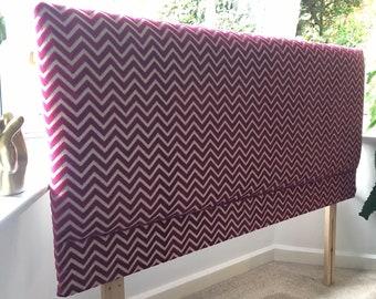 Hot pink zig zag chevron reupholstered double headboard