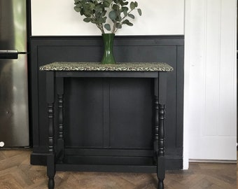 Vintage custom console table with William Morris 'Willow Bough' fabric top and matte black legs