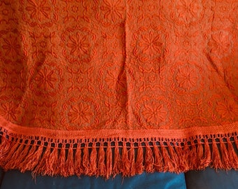 SALE! Pair of 1950s thick quilted embroidered single bedspreads/covers with tassels in burnt orange floral design. Perfect for twin room.
