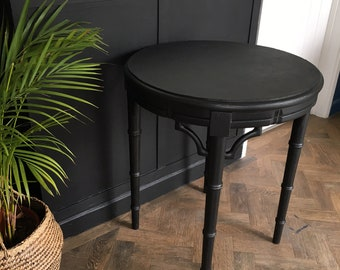 Vintage faux ebonised bamboo wooden table