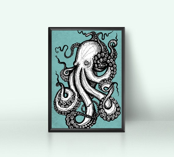 Octopus digital art print