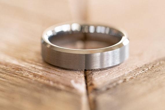 December Birthstone Ring 9 6MM Brushed Finish Comfort Fit Classic Dome White Wedding Band 0.07ct Tanzanite Titanium Ring