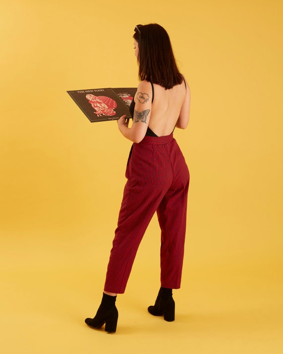 80's Vintage Plaid pants Gingham pants