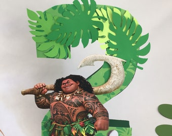 Maui Birthday Number Photo Prop Centerpiece Boy Moana Party