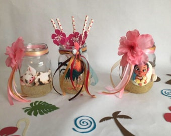 Baby Moana Centerpiece Jar Set Birthday Table Decorations