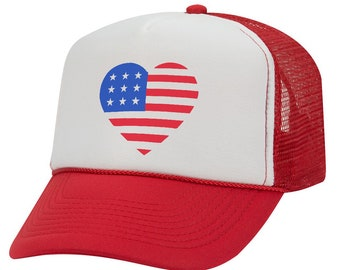02682f6ba69 American Flag Heart - Glitter - 4th of July - Kids Youth Trucker Hat