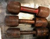 Rustic Wood Dumbbells, Weightlifting Memorabilia, Wooden Weights