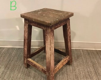 Wondrous Vintage Wood Stool Etsy Pabps2019 Chair Design Images Pabps2019Com