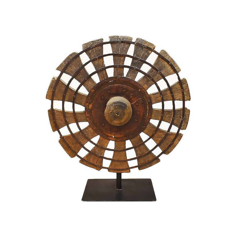 Vintage Silk Spinning Wheel | Charkha Wheel on Stand | Indian Rustic Wheel