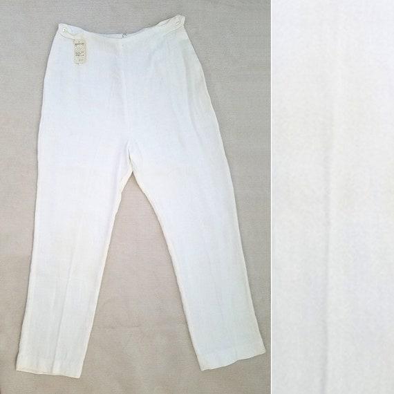 1950s -1960s White Cigarette Pants 50s 60s Soft Wo