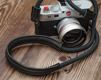 Rope Camera Strap HandMade Black 9mm Leather Shoulder pad  CSCL