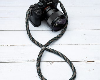 Green Camo Paracord camera strap High Strength Nylon Rope HandMade Camera Camo Strap