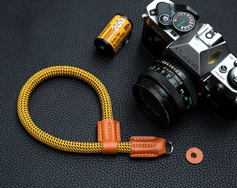 Leather Camera wrist strap HandMade 9mm Rope Camera Strap Yellow