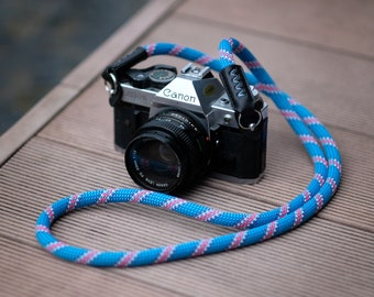 Rope Camera Strap HandMade Blue Pattern  (France Beal  Static Rope) 120cm or 100cm