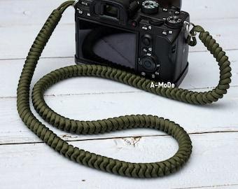 Paracord camera strap High Strength Nylon Rope HandMade Camera Strap Army Green