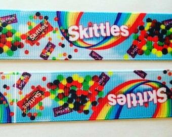 """Skittles grosgrain ribbon 1"""""""