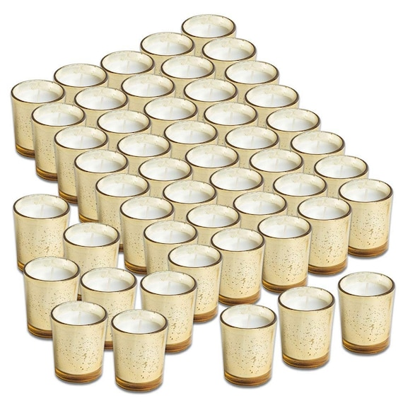 Glass Votive Candles Unscented Set of 48 by Simplicité in Mercury Gold Speckled Finish | Ideal for Weddings, Decorations and Parties