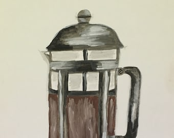French Press Acrylic Painting