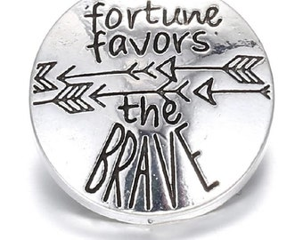 Fortune Favors the Brave Charm, Snap Charm, Snap Button, Noosa, Rivca, Chunk