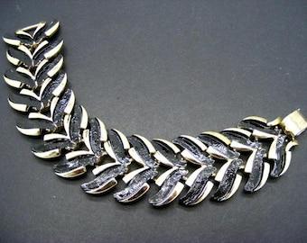 Coro Silver Wide Vintage Pegasus Link Repaired with Black Enamel Bracelet