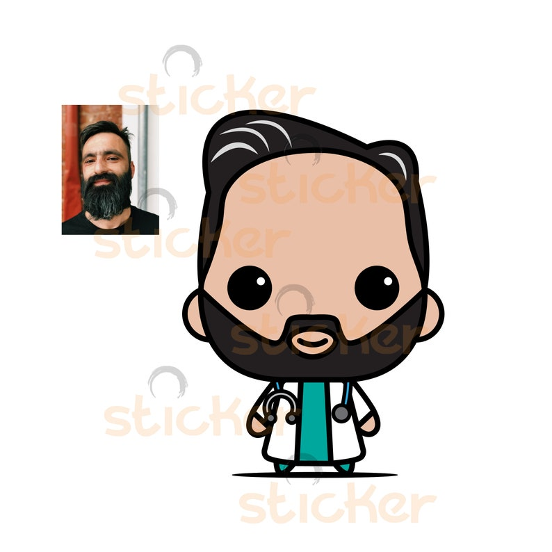Surgeon Cariacture Custom Doctor Portrait Personalized Digital Print from Photo