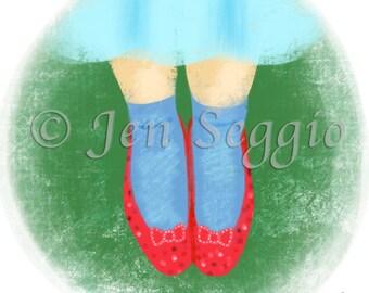 Splendorous Shoes // Art print // Digital illustration // Wizard of Oz