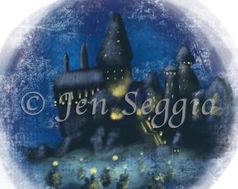 Enchanted Castle // Art print // Digital illustration // Hogwarts