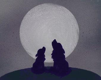 Baby's First Howl // Art print // Digital illustration // Wolf Art