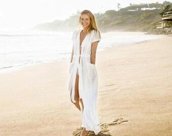 Maxi Beach Shirt White Beachwear Coverup