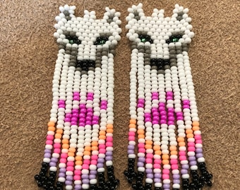Beaded Wolf Earrings