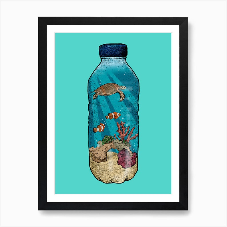 A4 Ocean Wall Art  Recycled Paper Print Plastic Ocean image 0
