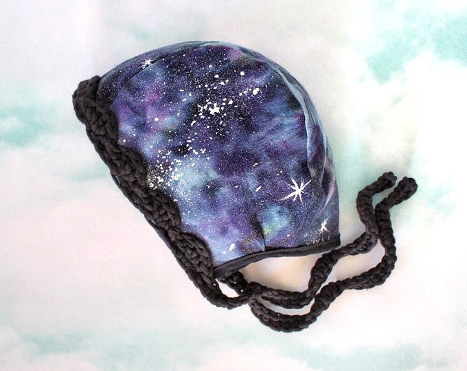Hand-Dyed Galaxy Linen Bonnets (ready to ship)