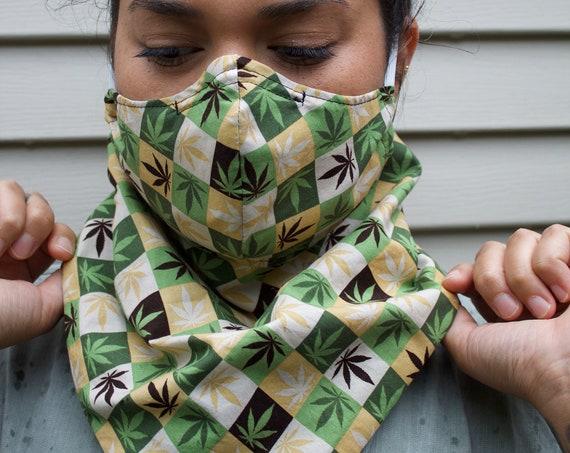 Cannabis Squares Non-Medical Face Mask With Neck Bandana & Hidden Pockets